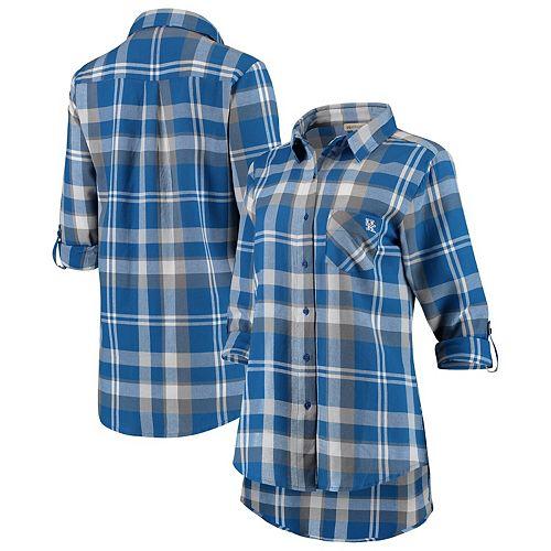 Women's Royal Kentucky Wildcats Missy Boyfriend Plaid Flannel Button-Up Long Sleeve Shirt