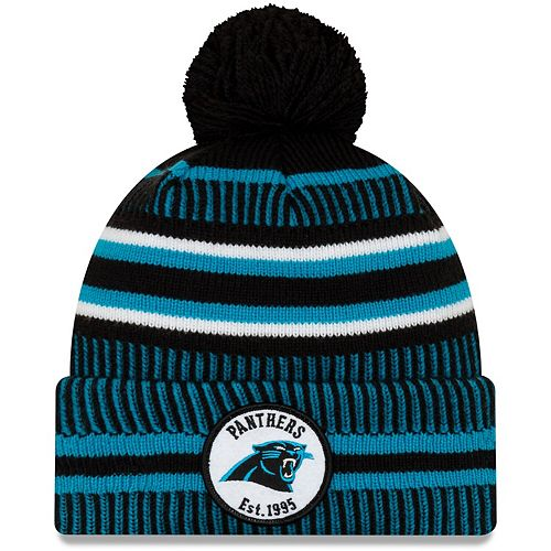 Youth New Era Black/Blue Carolina Panthers 2019 NFL Sideline Home Reverse Sport Knit Hat