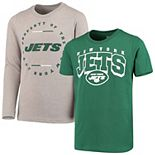 Youth Green/Heathered Gray New York Jets Club Short Sleeve & Long Sleeve T-Shirt Combo Pack