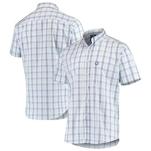 Men's Antigua Royal Indianapolis Colts Woven Button-Down Shirt