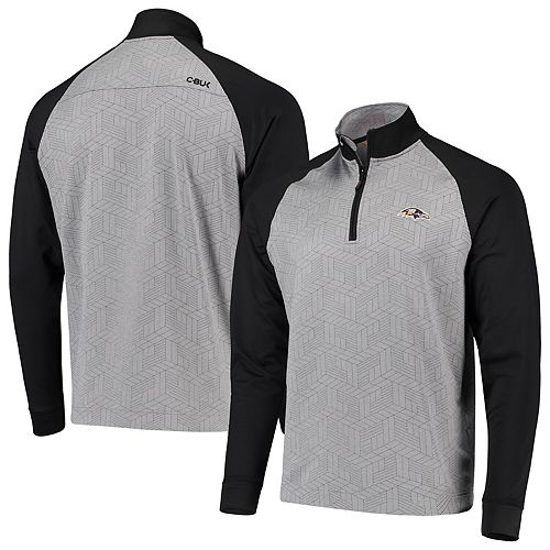 Men's CBUK by Cutter & Buck Gray/Black Baltimore Ravens All-Star Half-Zip Pullover Jacket