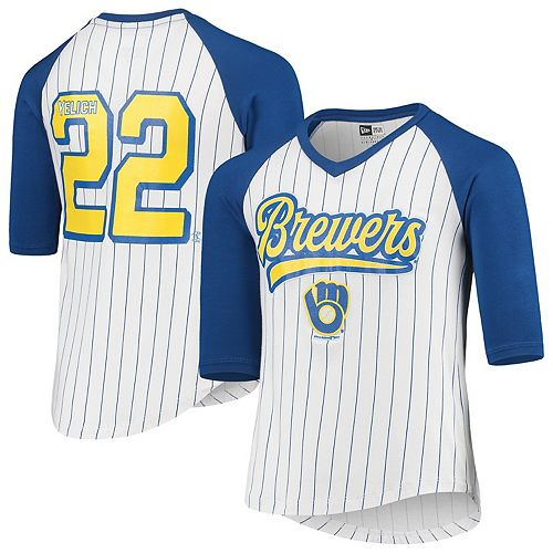 Christian Yelich Milwaukee Brewers 5th & Ocean by New Era Girls Youth Player Pinstripe Raglan 3/4-Sleeve T-Shirt  White/Royal