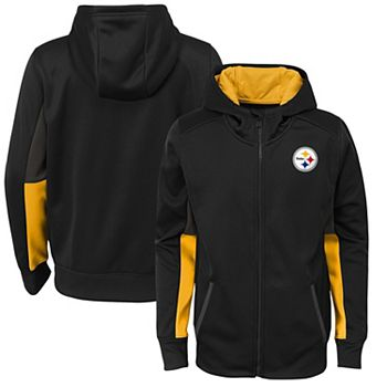 purchase cheap c9a25 9fd6e Youth Black Pittsburgh Steelers Connected Performance Full-Zip Hoodie