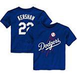Toddler Majestic Clayton Kershaw Royal Los Angeles Dodgers Player Cap Logo Name & Number T-Shirt