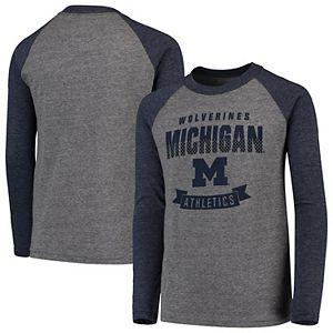 Michigan Wolverines NCAA Youth Navy Tri-Blend Shirt