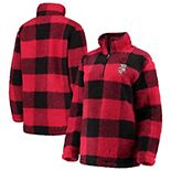 Women's Red/Black Wisconsin Badgers Plaid Sherpa Quarter-Zip Pullover Jacket