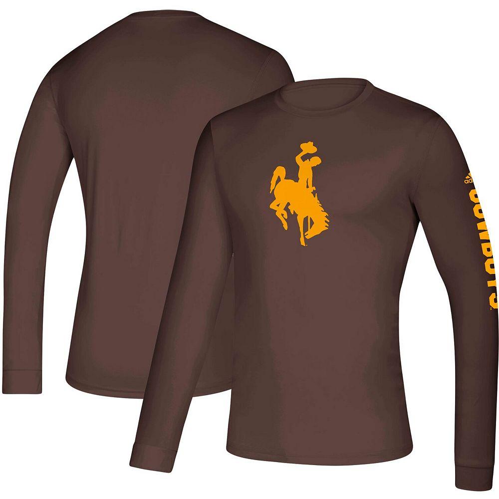 Men's adidas Brown Wyoming Cowboys Wordmark Two-Hit Creator Long Sleeve T-Shirt
