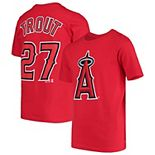 Youth Majestic Mike Trout Red Los Angeles Angels Player Cap Logo Name & Number T-Shirt