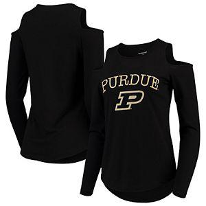 Women's Black Purdue Boilermakers Cold Shoulder Long Sleeve T-Shirt