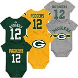 Newborn & Infant Aaron Rodgers Green/Gold/Heathered Gray Green Bay Packers Name & Number Three-Pack Bodysuit Set