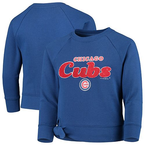 Girls Youth New Era Royal Chicago Cubs Side-Tie Pullover Sweatshirt
