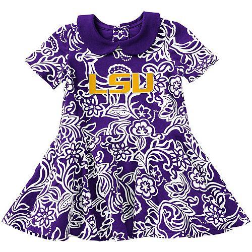 Girls Infant Colosseum Purple LSU Tigers Sasha Floral Dress