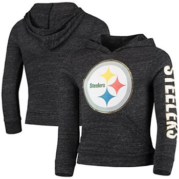 online store ccc5f 3e632 Girls Youth New Era Heathered Black Pittsburgh Steelers Tri-Blend Pullover  Hoodie