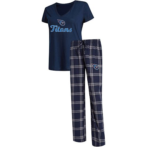 Women's Concepts Sport Navy/Gray Tennessee Titans Troupe V-Neck T-Shirt & Pants Sleep Set