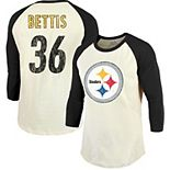 Jerome Bettis Pittsburgh Steelers Majestic Threads Vintage Inspired Player Name & Number 3/4-Sleeve Raglan T-Shirt - Cream/Black
