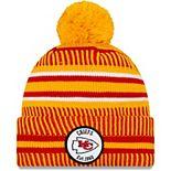 Men's New Era Yellow/Red Kansas City Chiefs 2019 NFL Sideline Home Reverse Sport Knit Hat