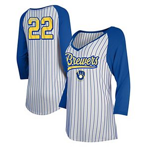 outlet store 79f11 2867e Christian Yelich Milwaukee Brewers 5th & Ocean by New Era Girls Youth  Player Pinstripe Raglan 3/4-Sleeve T-Shirt White/Royal
