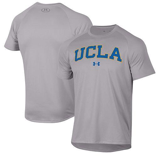 Men's Under Armour Heather Gray UCLA Bruins Wordmark School Logo Tech 2.0 Performance Raglan T-Shirt