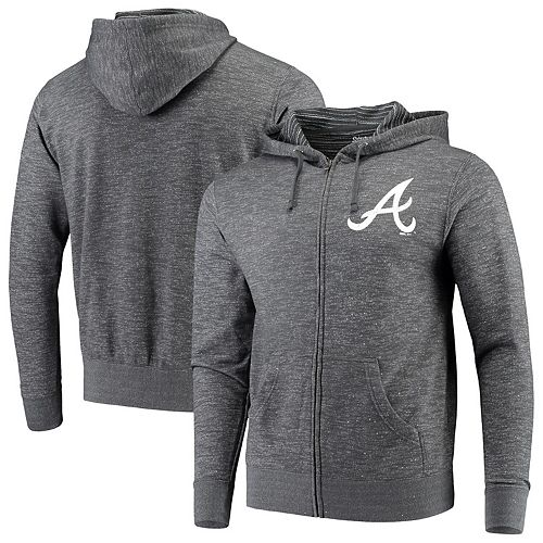 Men's Stitches Heathered Charcoal Atlanta Braves Full-Zip Hoodie