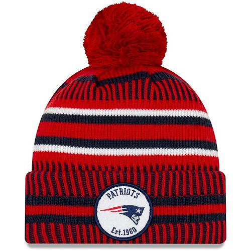Youth New Era Red New England Patriots 2019 NFL Sideline Home Reverse Sport Knit Hat