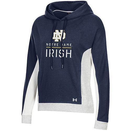 Women's Under Armour Navy/White Notre Dame Fighting Irish OT Pique Fleece Pullover Hoodie