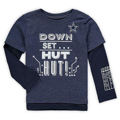 Toddler Heathered Navy Dallas Cowboys Arnold Faux Layered Long Sleeve T-Shirt