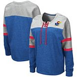 Women's Colosseum Royal Kansas Jayhawks Manolo Lace-Up French Terry Pullover Sweatshirt