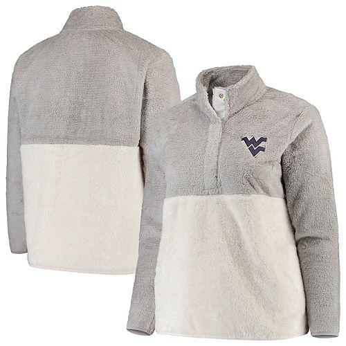 Women's Gray/Cream West Virginia Mountaineers Plus Size Fuzzy Fleece Colorblocked Four-Snap Pullover Jacket