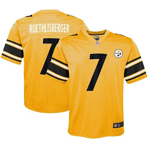 hot sale online 8bfe2 77acc Youth Nike Ben Roethlisberger Gold Pittsburgh Steelers Inverted Game Jersey