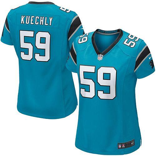 new style f2fb7 208ae Women's Carolina Panthers Luke Kuechly Nike Panther Blue Game Jersey
