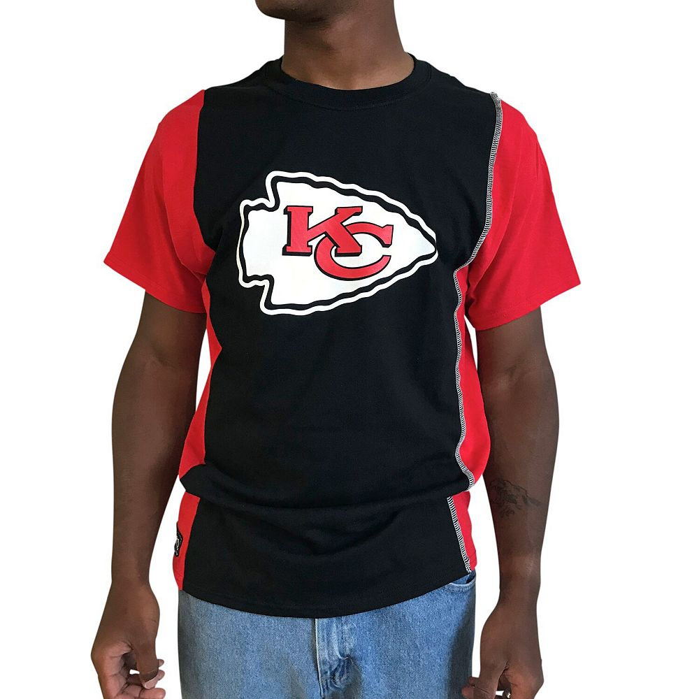 Men's Refried Apparel Black/Red Kansas City Chiefs Upcycled Split T-Shirt