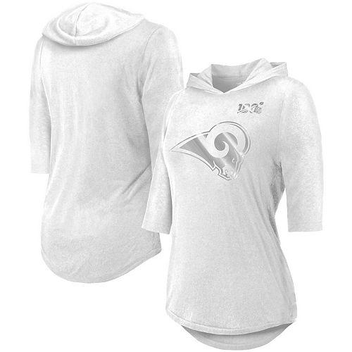 Women's Majestic Threads White Los Angeles Rams NFL 100th Season Platinum Hilo 3/4-Sleeve Hooded T-Shirt