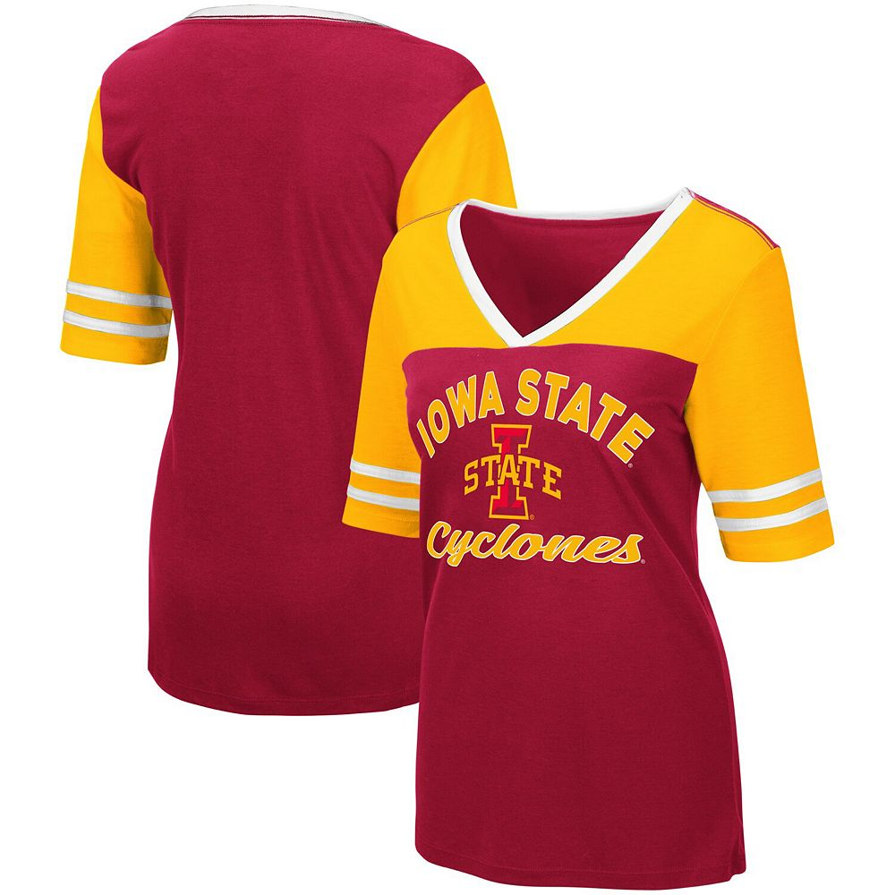 Women's Colosseum Cardinal Iowa State Cyclones Samantha V-Neck T-Shirt