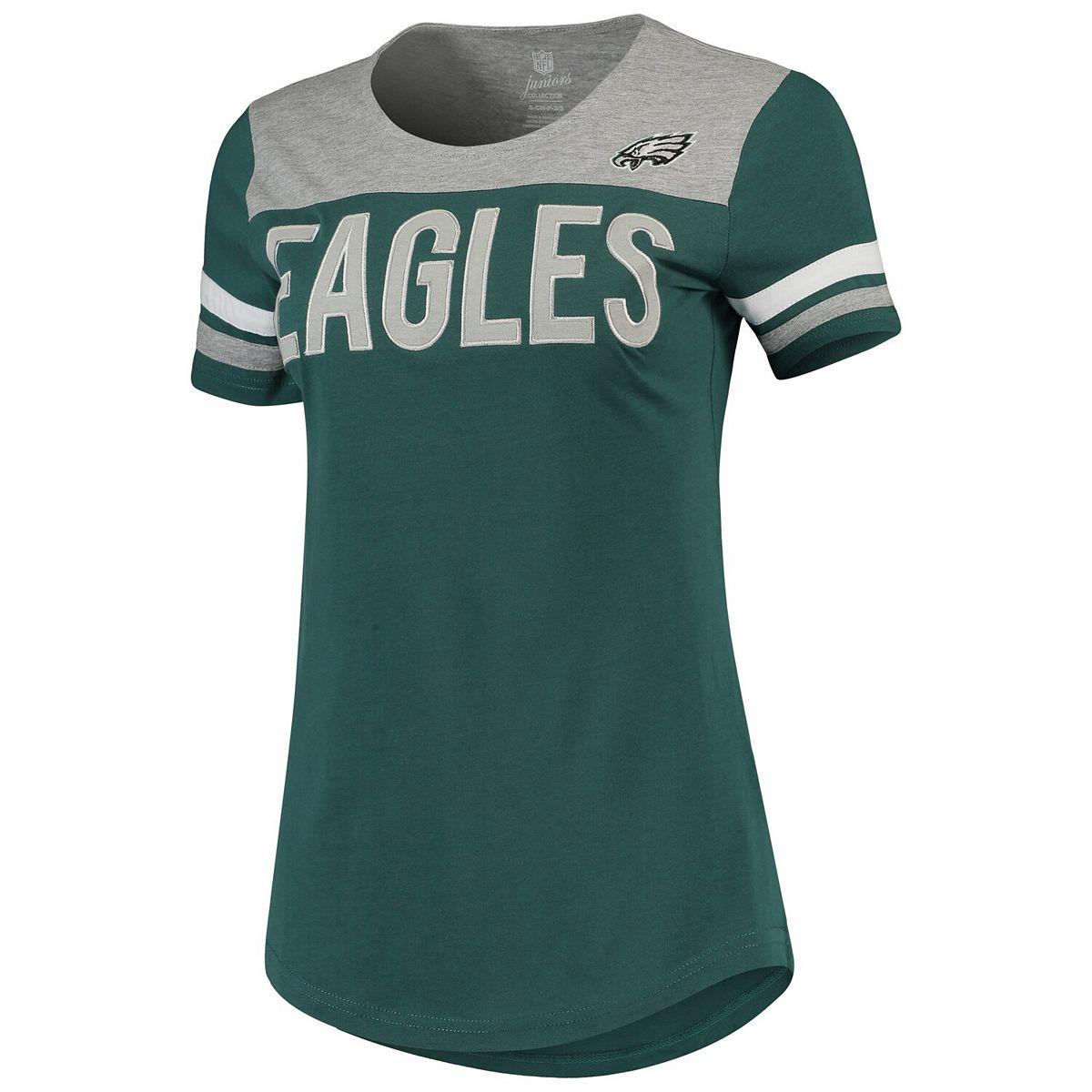 Juniors Midnight Green/Heathered Gray Philadelphia Eagles Receiver T-Shirt W2xku