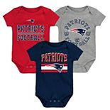 Newborn & Infant Navy/Red New England Patriots First & Ten 3-Pack Bodysuit Set