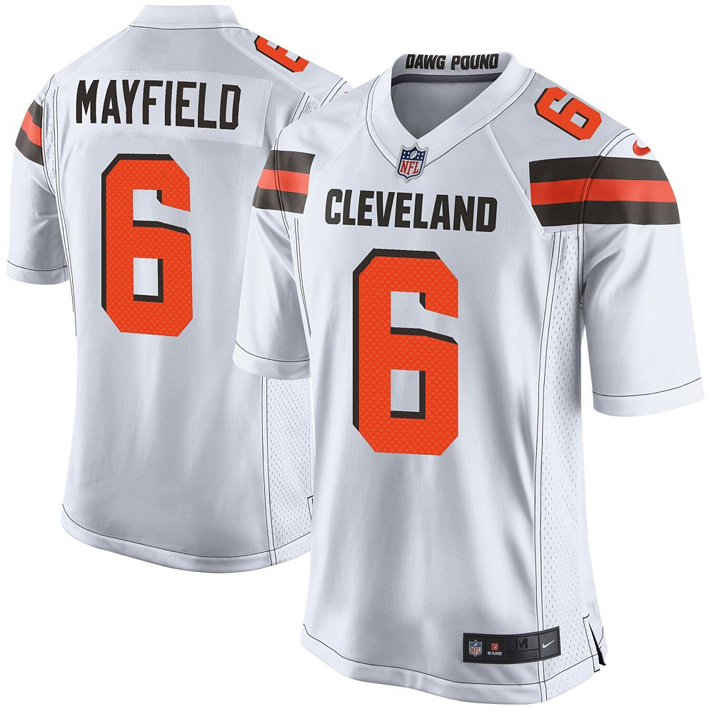 Men's Nike Baker Mayfield White Cleveland Browns Game Jersey