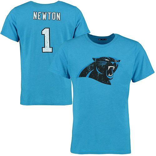 Men's Cam Newton Blue Carolina Panthers Tri-Blend Name & Number T-Shirt