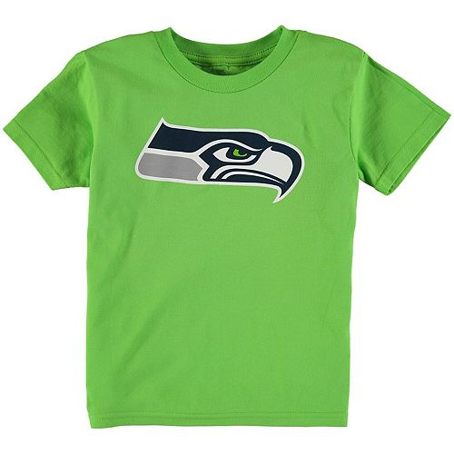 Preschool Neon Green Seattle Seahawks Team Logo Short Sleeve T-Shirt