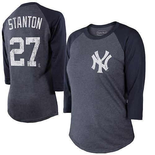 Women's Majestic Threads Giancarlo Stanton Navy New York Yankees Name & Number 3/4 Sleeve Raglan T-Shirt