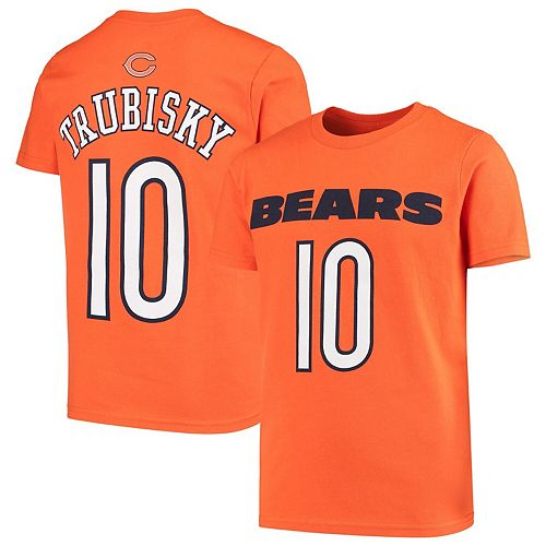 detailed look f4051 b23f1 Youth Mitchell Trubisky Orange Chicago Bears Team Mainliner Name & Number  T-Shirt