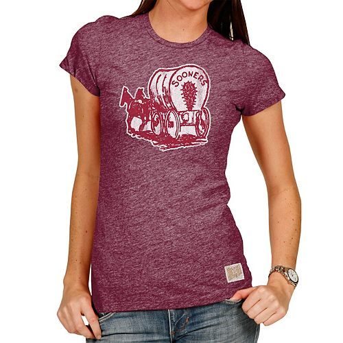 Women's Original Retro Brand Heathered Crimson Oklahoma Sooners Tri-Blend Crew Neck T-Shirt