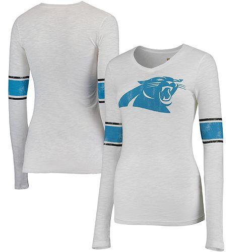 Juniors White Carolina Panthers Team Leader V-Neck Long Sleeve T-Shirt