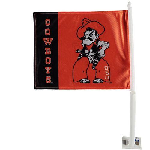 Oklahoma State Cowboys Mascot Car Flag - Orange