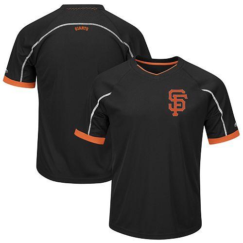 Men's Majestic Black/Orange San Francisco Giants Big & Tall Emergence V-Neck T-Shirt