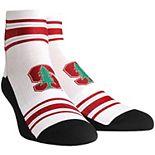 Men's White Stanford Cardinal Classic Stripes Quarter-Length Socks