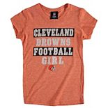 Girls Youth 5th & Ocean by New Era Orange Cleveland Browns Football Girl Tri-Blend V-Neck T-Shirt