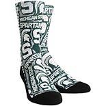 Men's Green Michigan State Spartans Logo Sketch Crew Socks