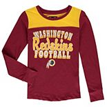 Girls Youth 5th & Ocean by New Era Burgundy Washington Redskins Glitter Football Long Sleeve T-Shirt