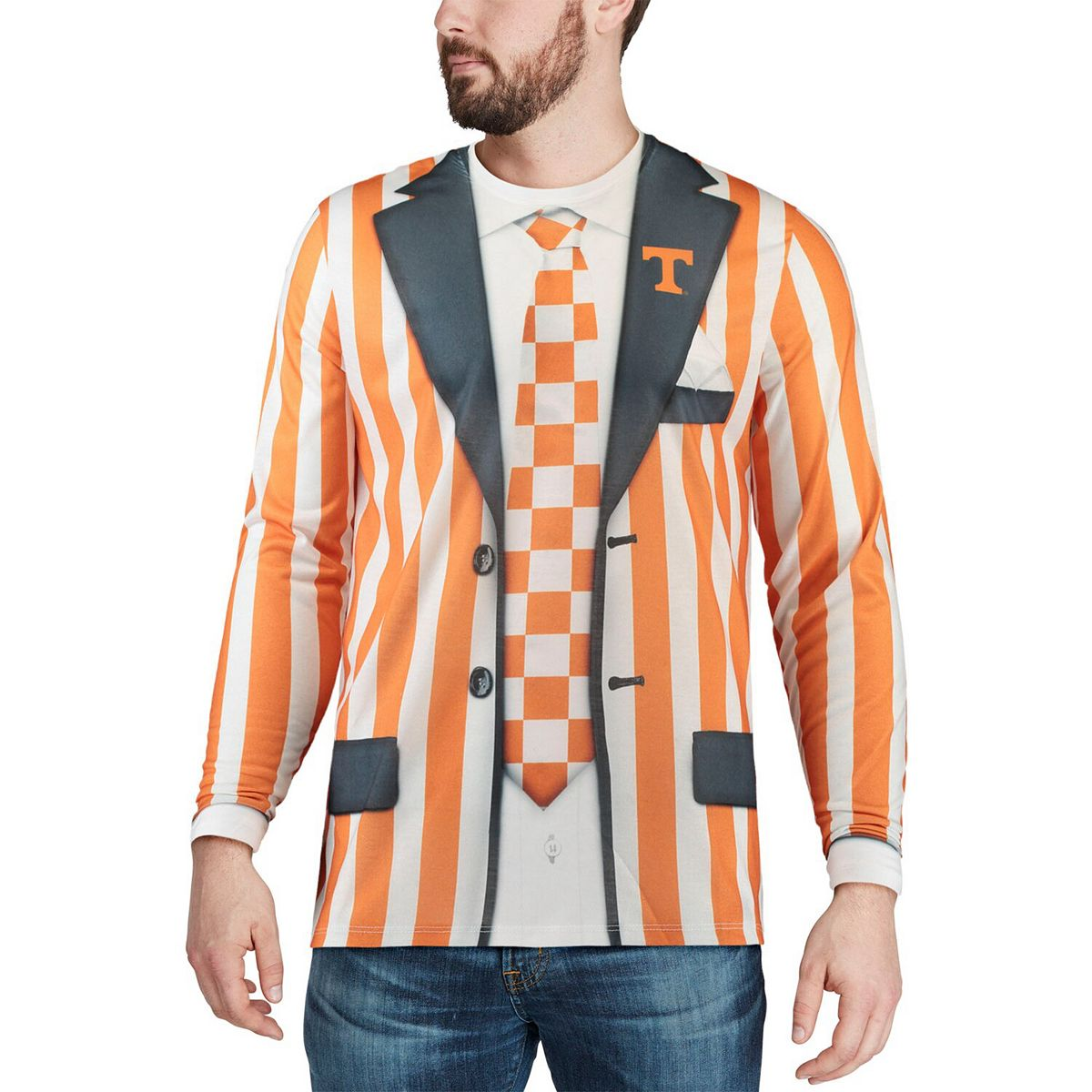 Men's Faux Real Apparel Multi Tennessee Volunteers Faux Suit Long Sleeve Shirt igUAX