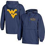 Women's Champion® Navy West Virginia Mountaineers Packable Half-Zip Light Rain Jacket